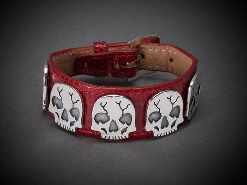 Sterling Silver/Red Lizard Skull Bracelet