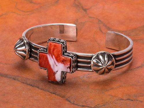 Sterling Silver and Spiny Oyster Cross Bracelet