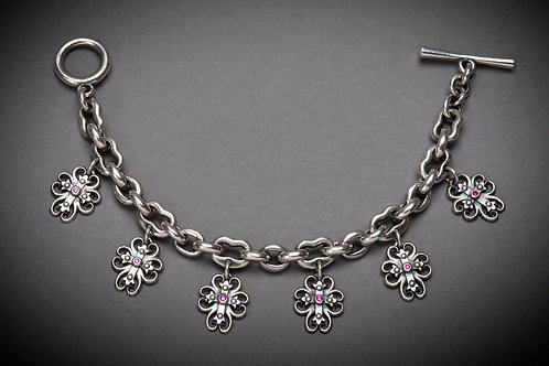 Sterling Silver Spirit Cross charm bracelet