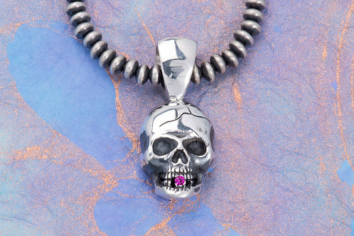 """Silver """"Black Tooth"""" Skull Pendant with Gemstone"""
