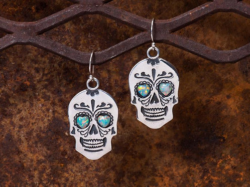 "Sterling Silver ""Sugar Skull"" Earrings"