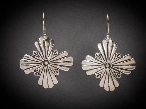 Sterling Silver Zia Cross Earrings