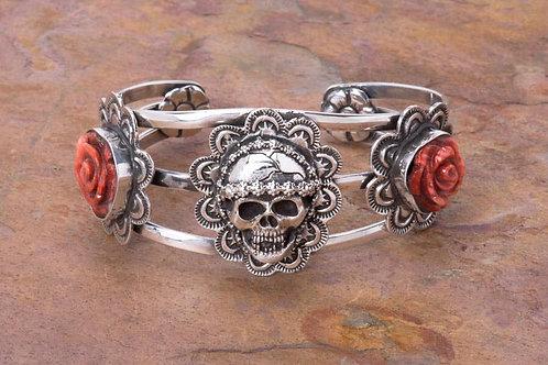Sterling Silver La Muerta Bracelet with Roses