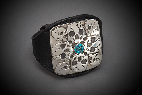 Sterling Silver Skull Cuff with Turquoise