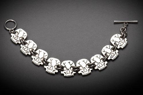 Sterling Silver Linked Skull Bracelet