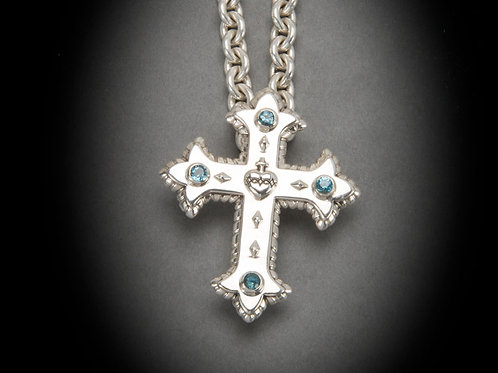 Small Sacred Heart Cross with Gems.
