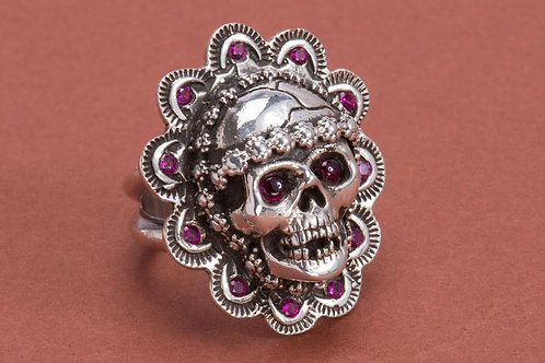 Silver Skull Ring w/ Rubies and Garnets