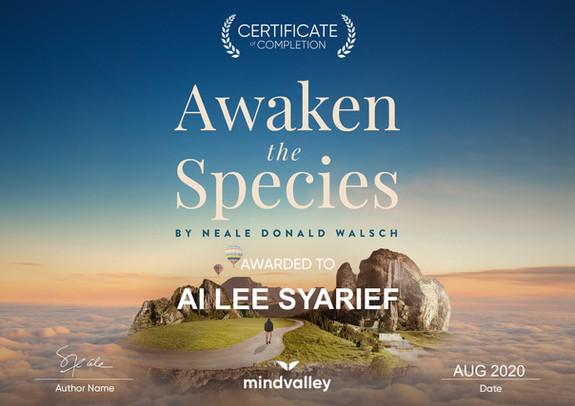 Certificate Awaken the Species