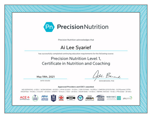 Precision Nutrition Level 1 Nutrition and Coaching