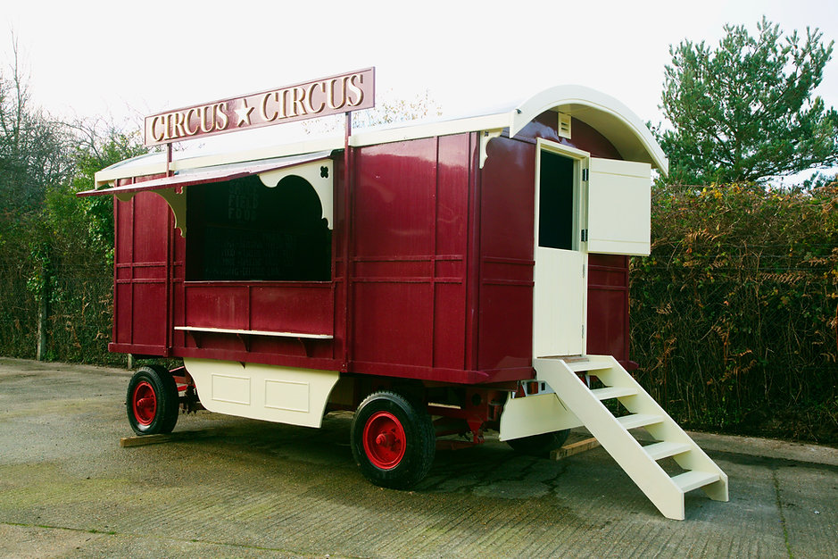 Ex Gifford's Circus kitchen wagon - fully restored for the festival and wedding circuit. gin Bar, champagne bar, festival catering, food van, circus