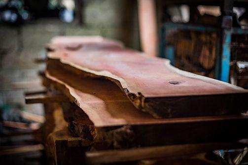 seasoned hardwood stack in our workshop