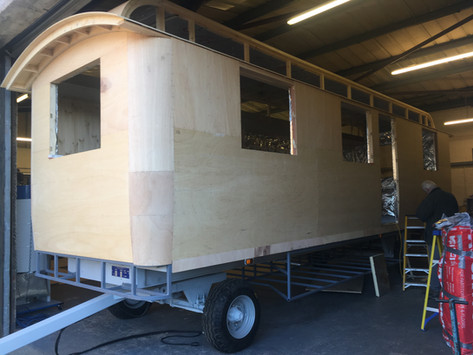 the front of a Studland series wagon under construction