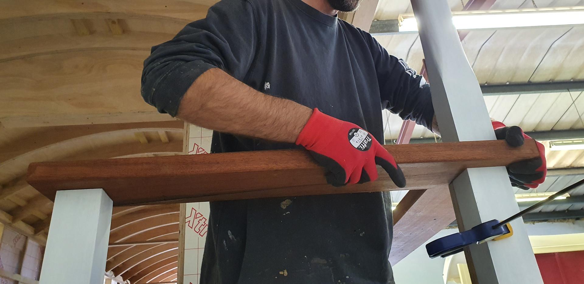 Jon fits the hand rail