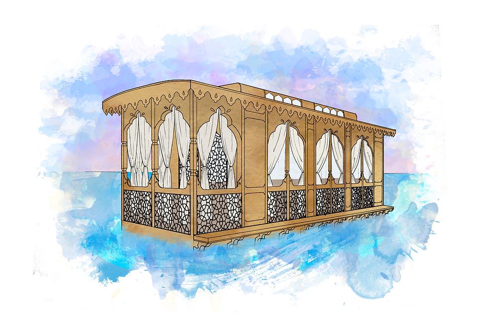 Hand-drawn Kashmiri houseboat by Deniz Sayar