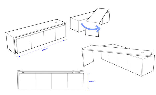 TV Unit Conceptual Drawing. Pivoting and adaptable.