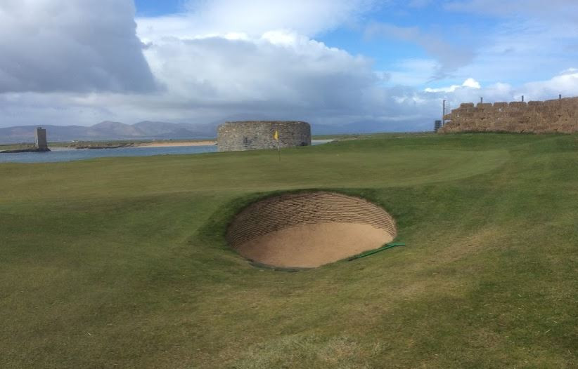 Pot bunker on third green