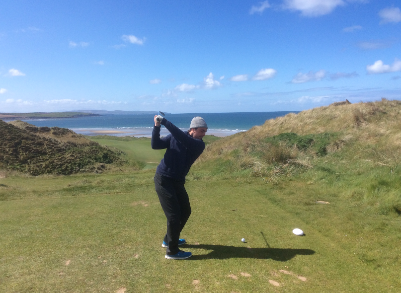 Brother on seventeenth tee