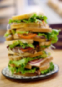 sandwich stack, made of fresh baked bread