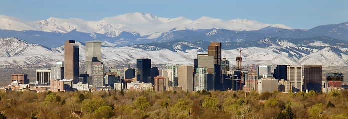 Downtown of Denver, Colorado with mounta