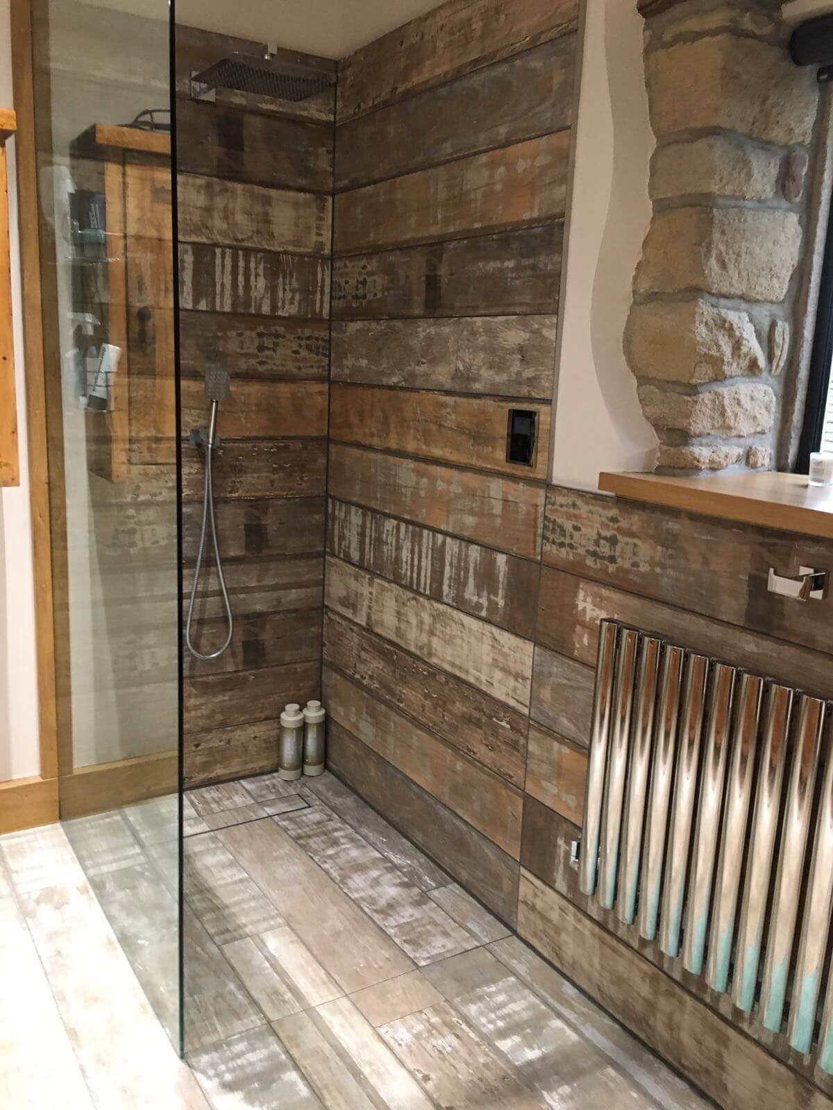 Wet room bathroom installers lancashire uk harp ceramics impy wet room with linear inserted tile trap tray that hides the waste and looks like one floor wood effect plank wall and floor tiles and wood embossed dailygadgetfo Choice Image