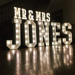 Light Up Letters 'MR & MRS JONES