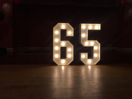 Big Number 65 Light up number