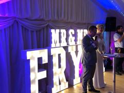 Light Up Letters 'MR & MRS FRYER'