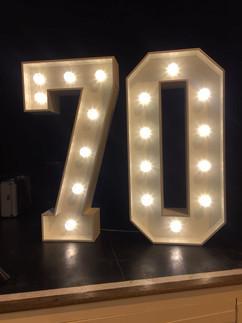 Big Number 70 Light up number