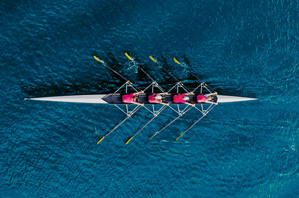 Women's rowing team on blue water, top v