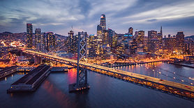 Aerial cityscape view of San Francisco a