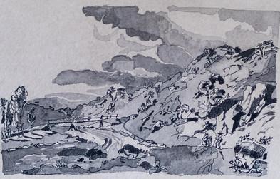 Fluss mit Brücke und Wanderern auf handgeschöpftem Papier