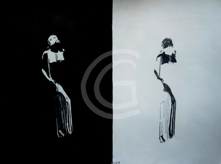 Lady black and white