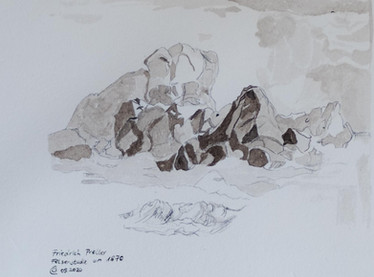 Felsenstudie auf handgeschöpften Papier