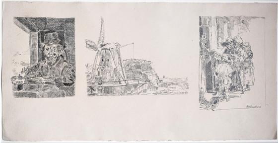 Rembrandt Selbstportrait 1648, Mühle 1641,  Bettler 1648