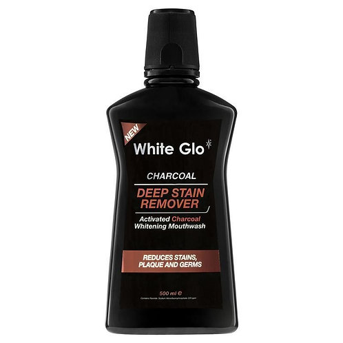 White Glo Charcoal Deep Stain Remover Mouthwash 500ml