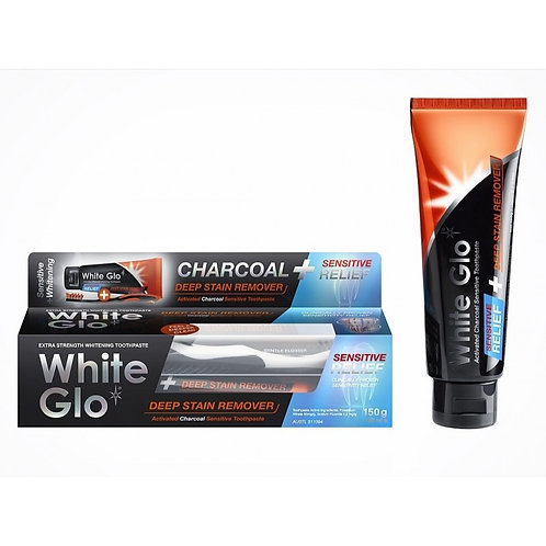 White Glo Charcoal Deep Stain Remover Sensitive Relief 150g