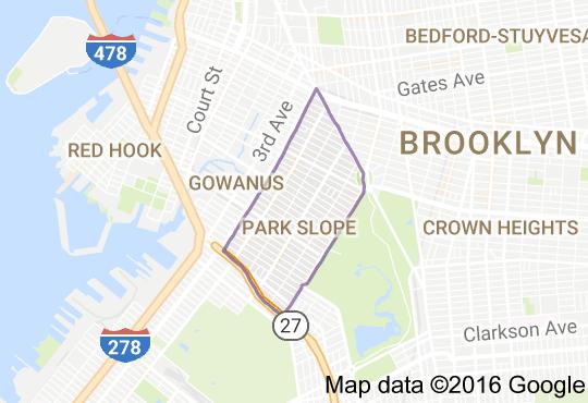 Map of Park Slope, Brooklyn, NY   Brooklyn map, Park slope brooklyn, Map