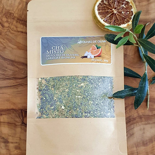 Chá misto de folhas de oliveira, laranja e baunilha
