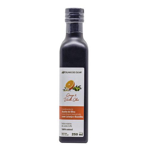 Condimento de azeite de oliva extra virgem aromatizado com laranja e baunilha