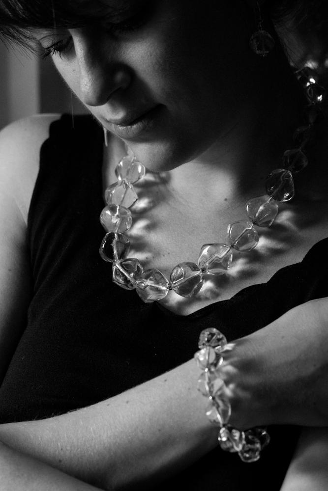 Collier et bracelet en verre filé