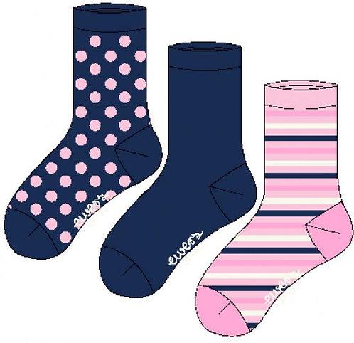 Socken 3er Pack Ringel/Punkte/Uni