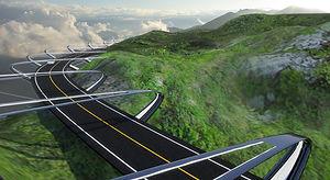 片持ちの道路 - 自然と一定の離隔距離を置く