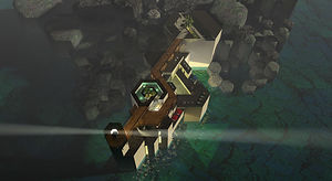 東尋坊の灯台 - 柱状節理との取り合い