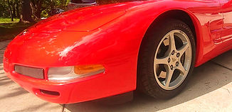 Close up of 2002 Red Chevy Corvette