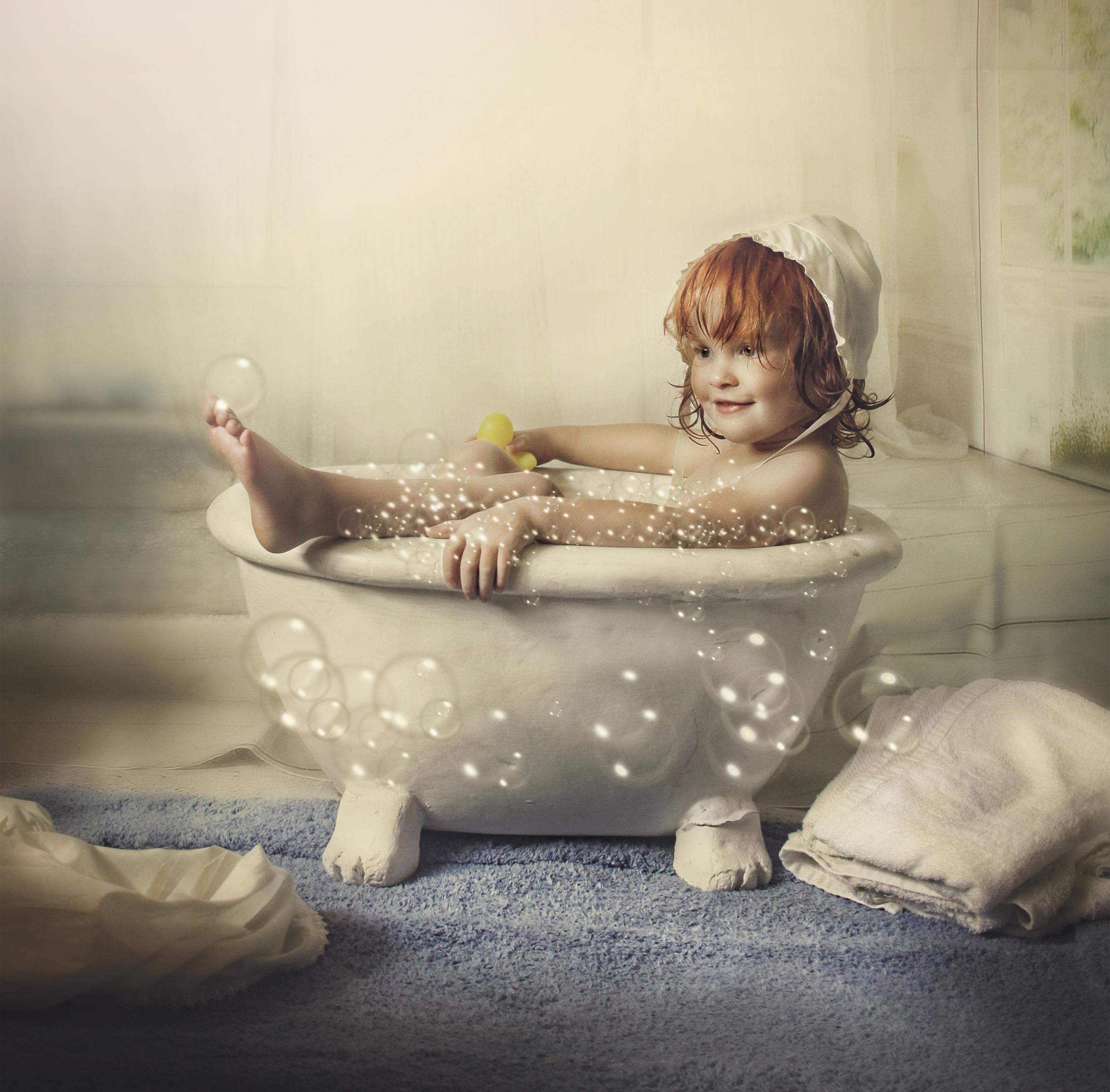 Girl in bubble bath Vintage