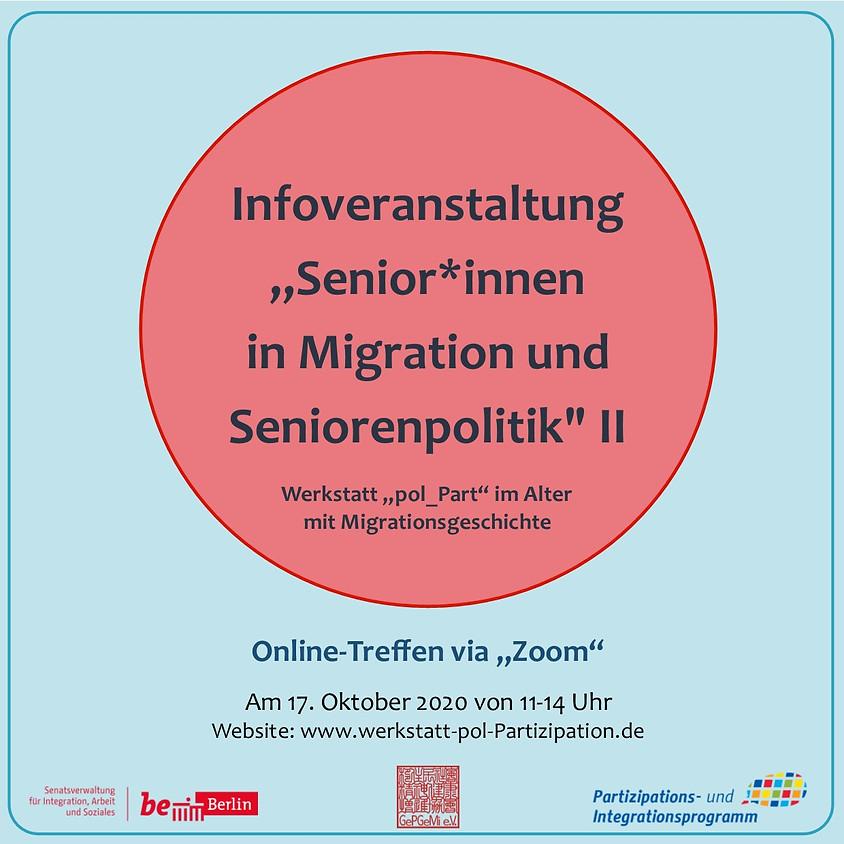 """Infoveranstaltung """"Senior*innen in Migration und Seniorenpolitik"""" II"""