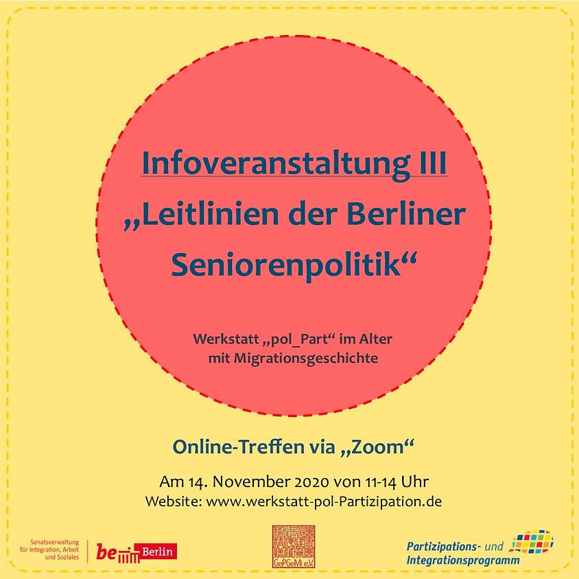"""Infoveranstaltung III - """"Leitlinien der Berliner Seniorenpolitik"""""""