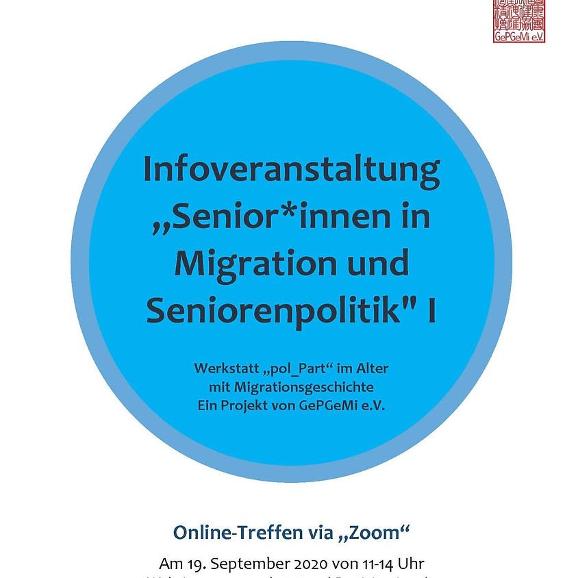 """Infoveranstaltung """"Senior*innen in Migration und Seniorenpolitik"""" I"""