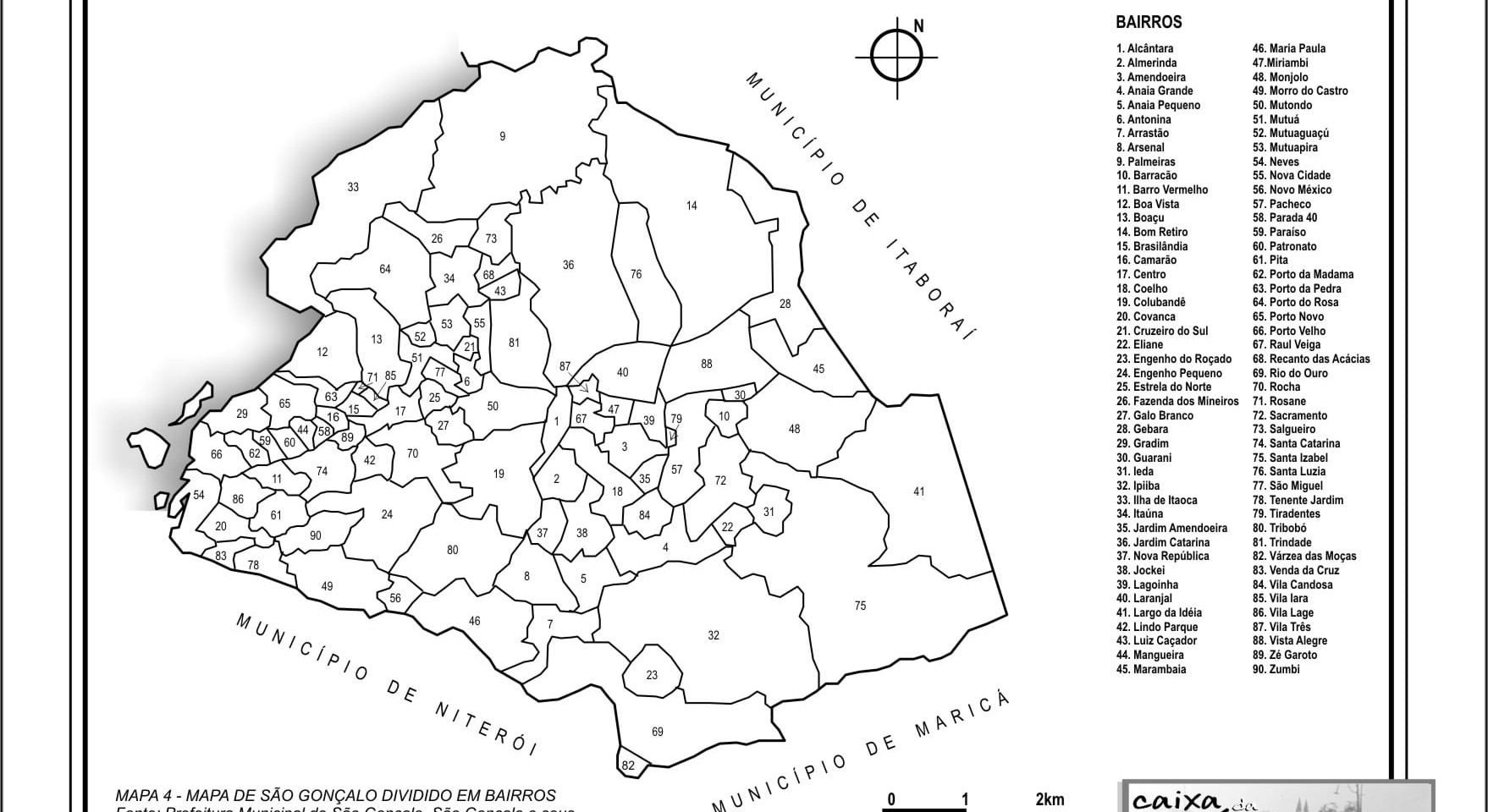 MAPA 4 - MAPA DE SÃO GONÇALO DIVIDIDO EM BAIRROS