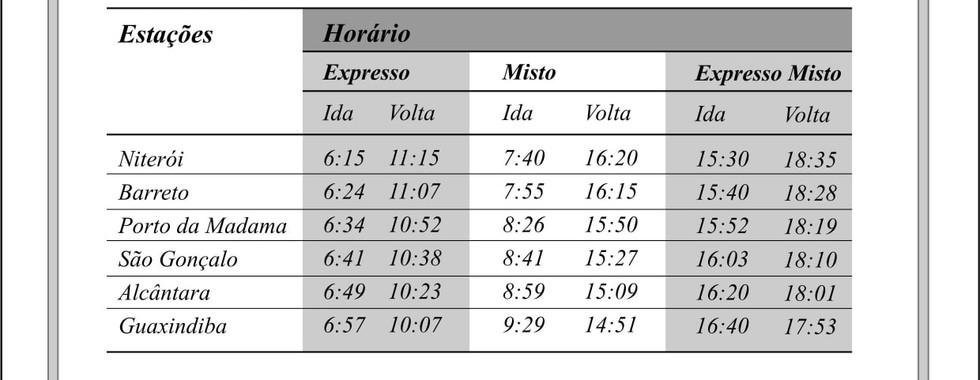 HORÁRIOS ESTRADA DE FERRO LEOPOLDINA